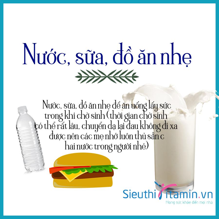 Nước, sữa, đồ ăn nhẹ