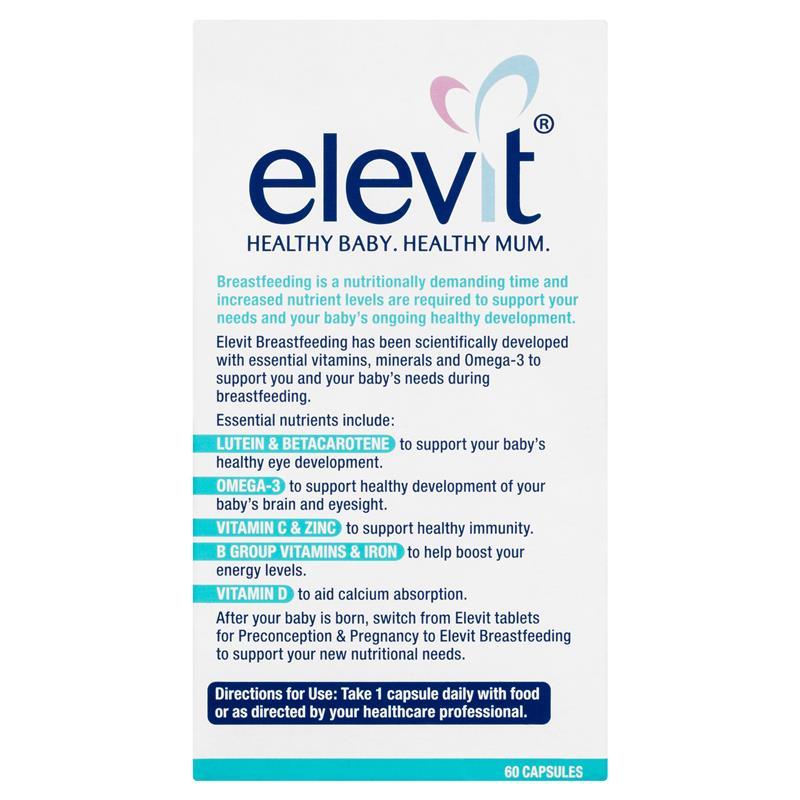 Image result for Elevit Sau Sinh Breastfeeding Của Úc (60 Viên)